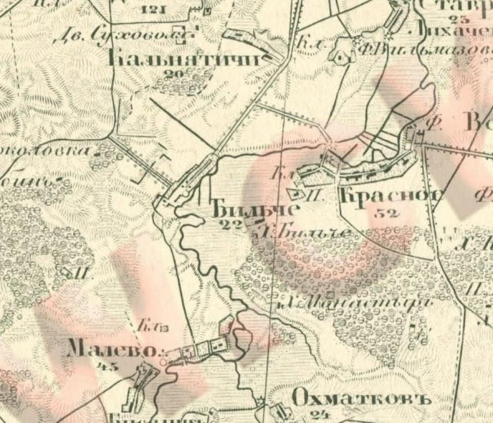 Село Більче з околицями, мапа 1873 року
